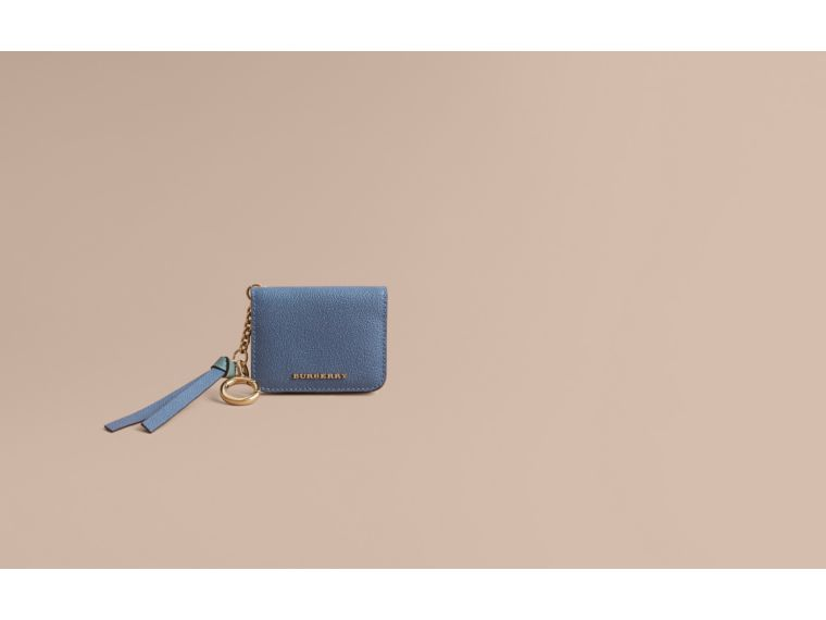 Leather and Haymarket Check ID Card Case Charm in Steel Blue/multi - Women | Burberry Australia - cell image 1