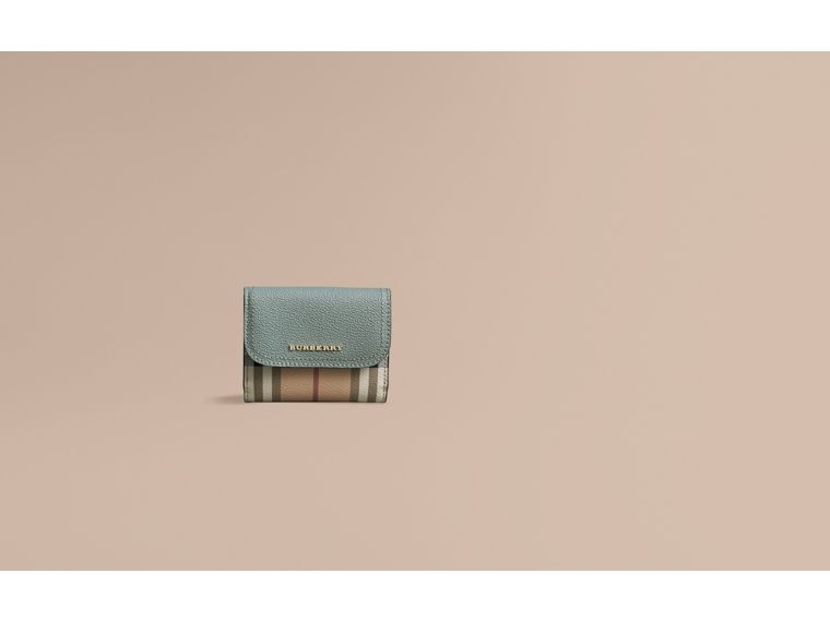 Leather and Haymarket Check Wallet in Eucalyptus Green/multicolour - Women | Burberry - cell image 1