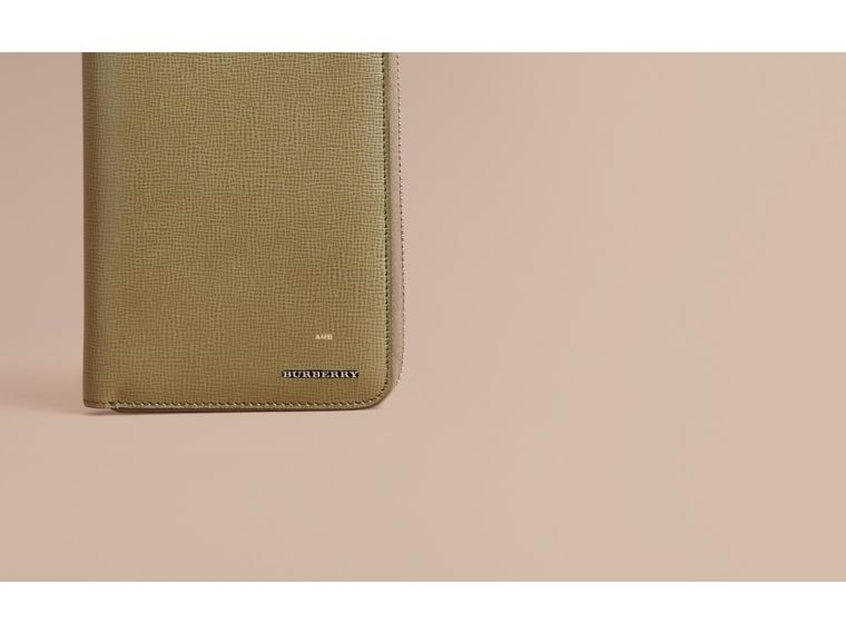 London Leather Ziparound Wallet in Olive Green | Burberry - cell image 1