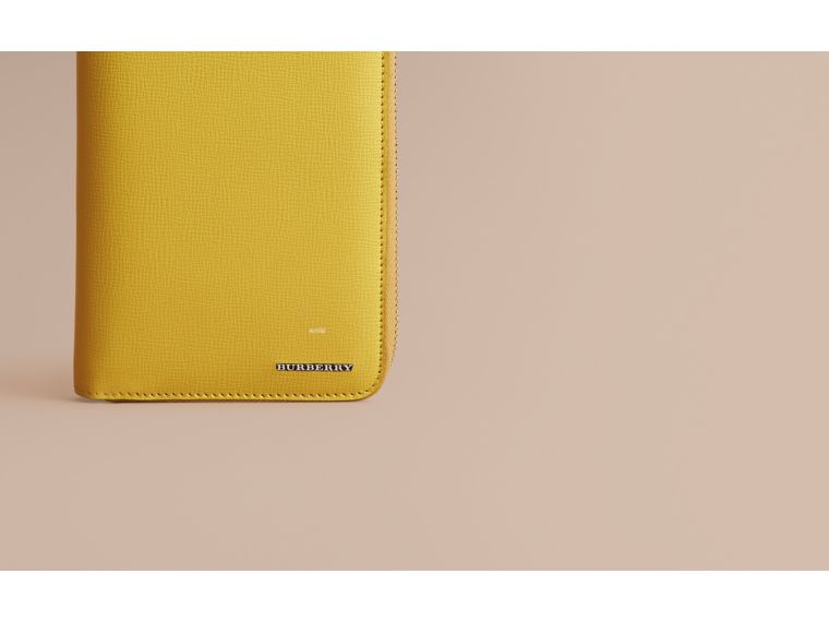 London Leather Ziparound Wallet in Bright Citrus | Burberry Australia - cell image 1