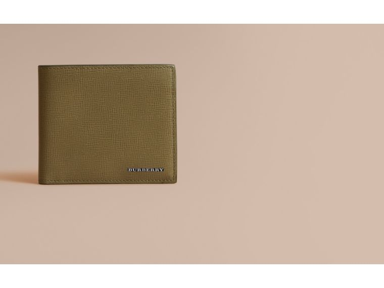 London Leather Folding Wallet in Olive Green | Burberry - cell image 1