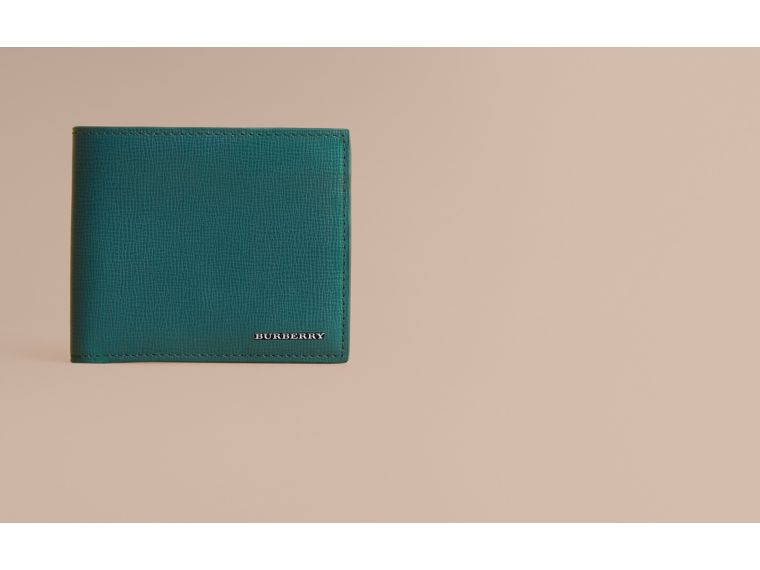 London Leather International Bifold Wallet in Dark Teal | Burberry Australia - cell image 1