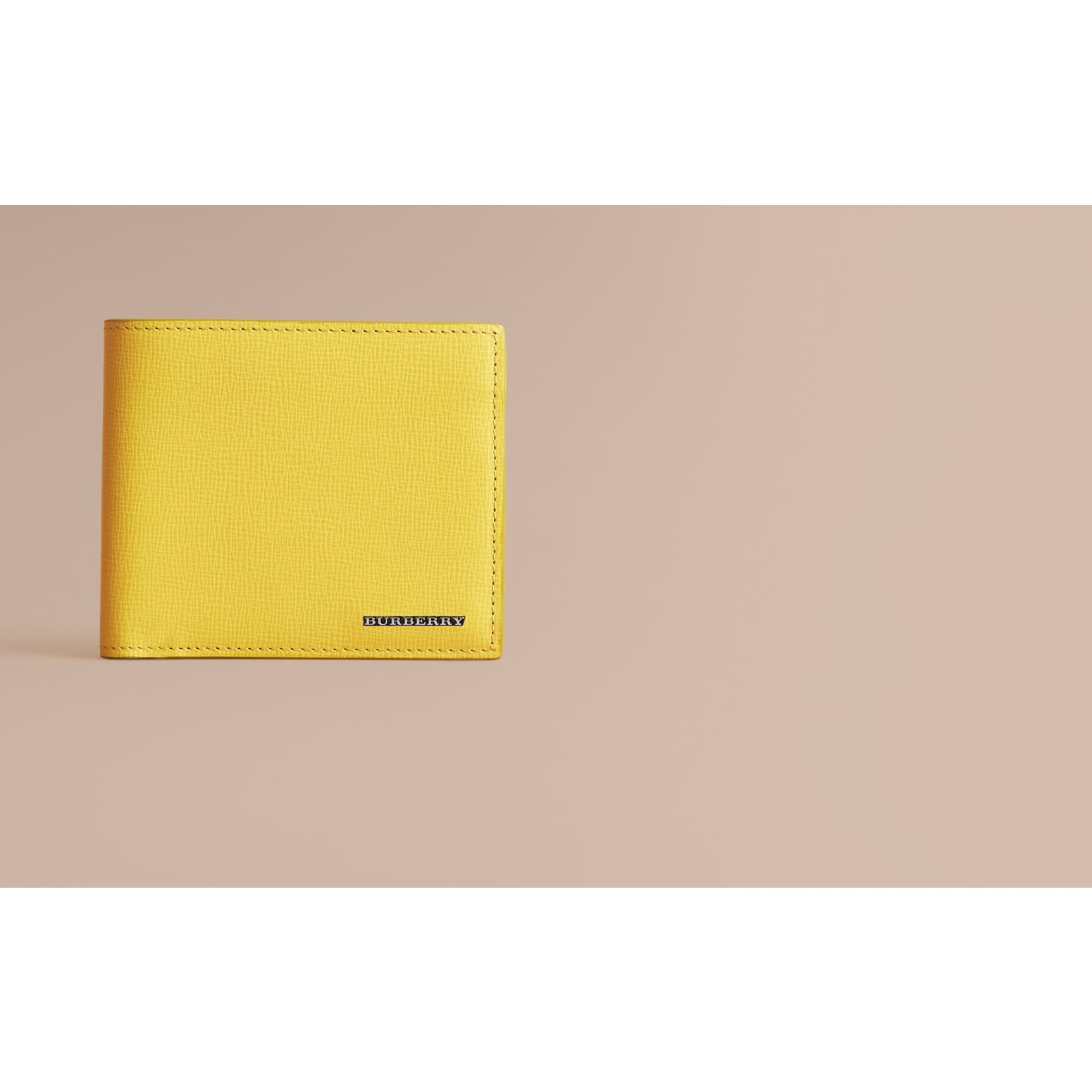 London Leather Folding Wallet in Bright Citrus | Burberry Singapore - gallery image 2