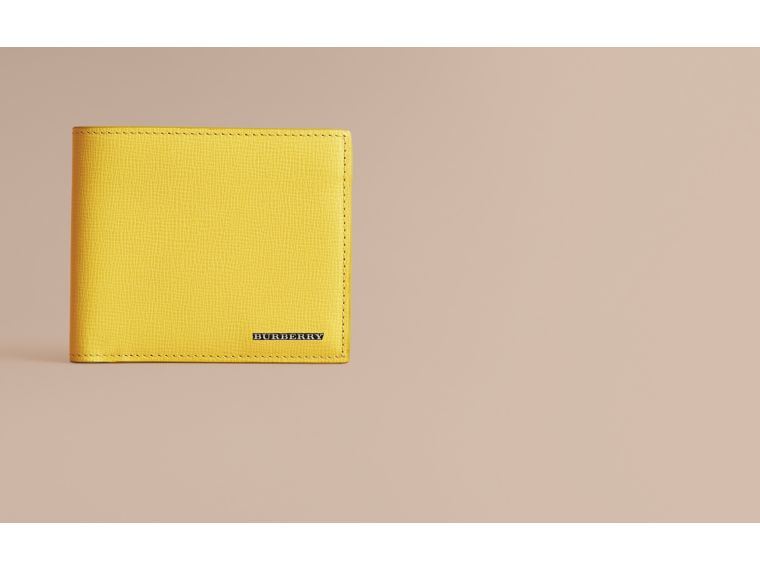 London Leather Folding Wallet in Bright Citrus | Burberry - cell image 1