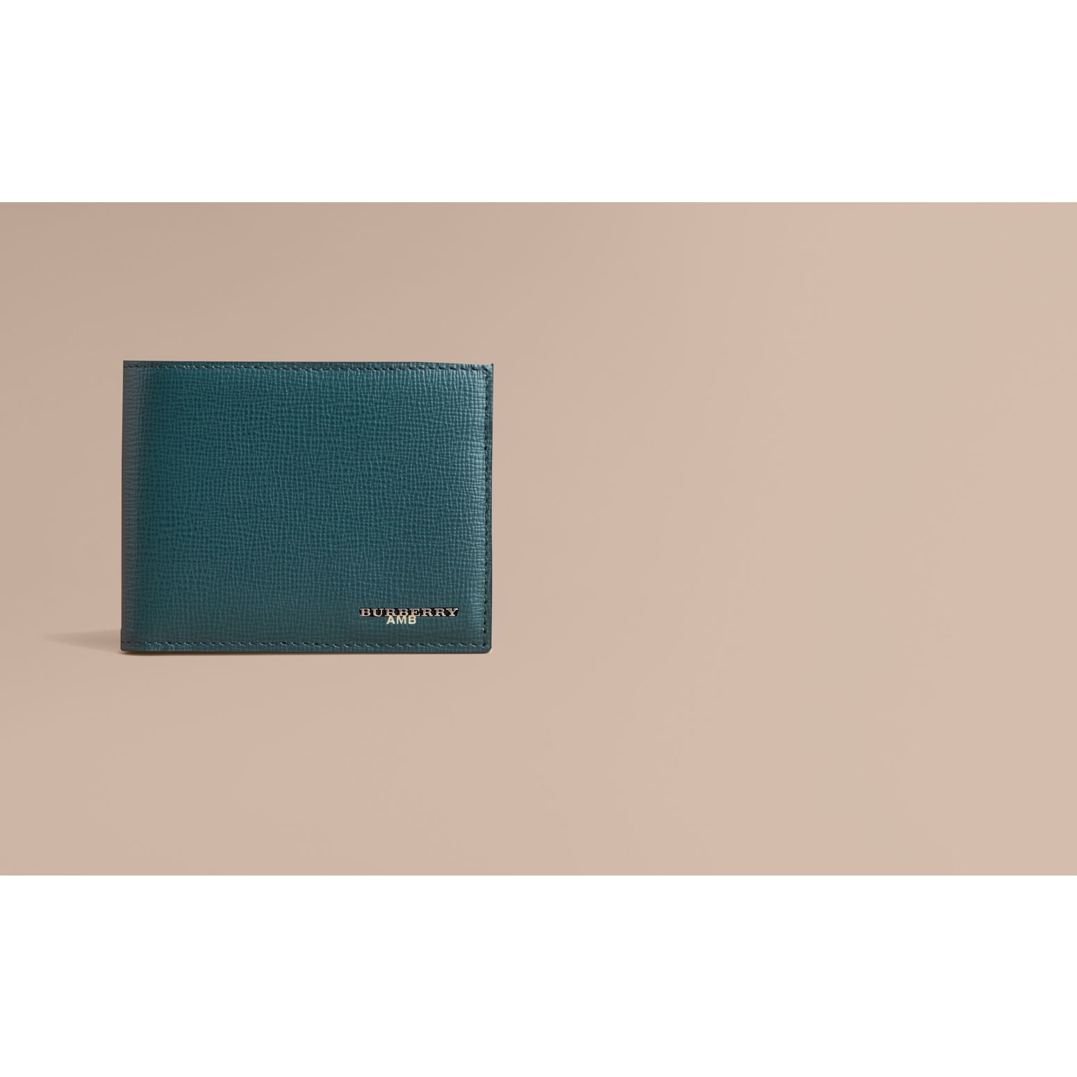 London Leather Bifold Wallet in Dark Teal | Burberry - gallery image 2