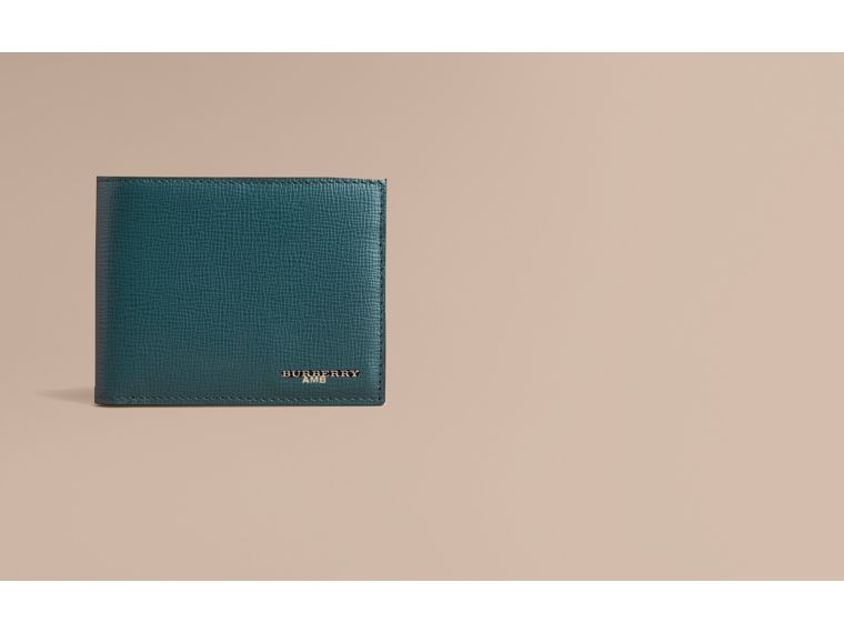 London Leather Bifold Wallet in Dark Teal | Burberry - cell image 1