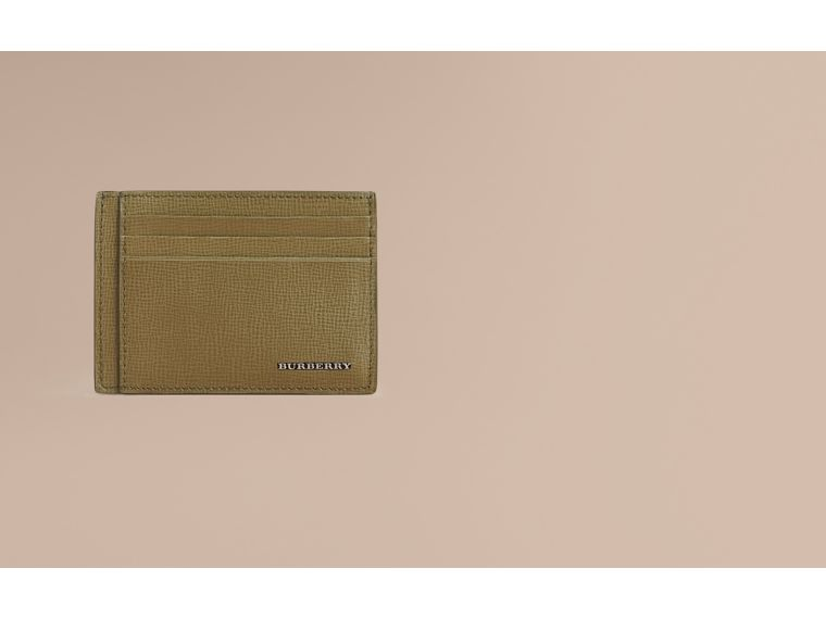 London Leather Card Case in Olive Green | Burberry Canada - cell image 1