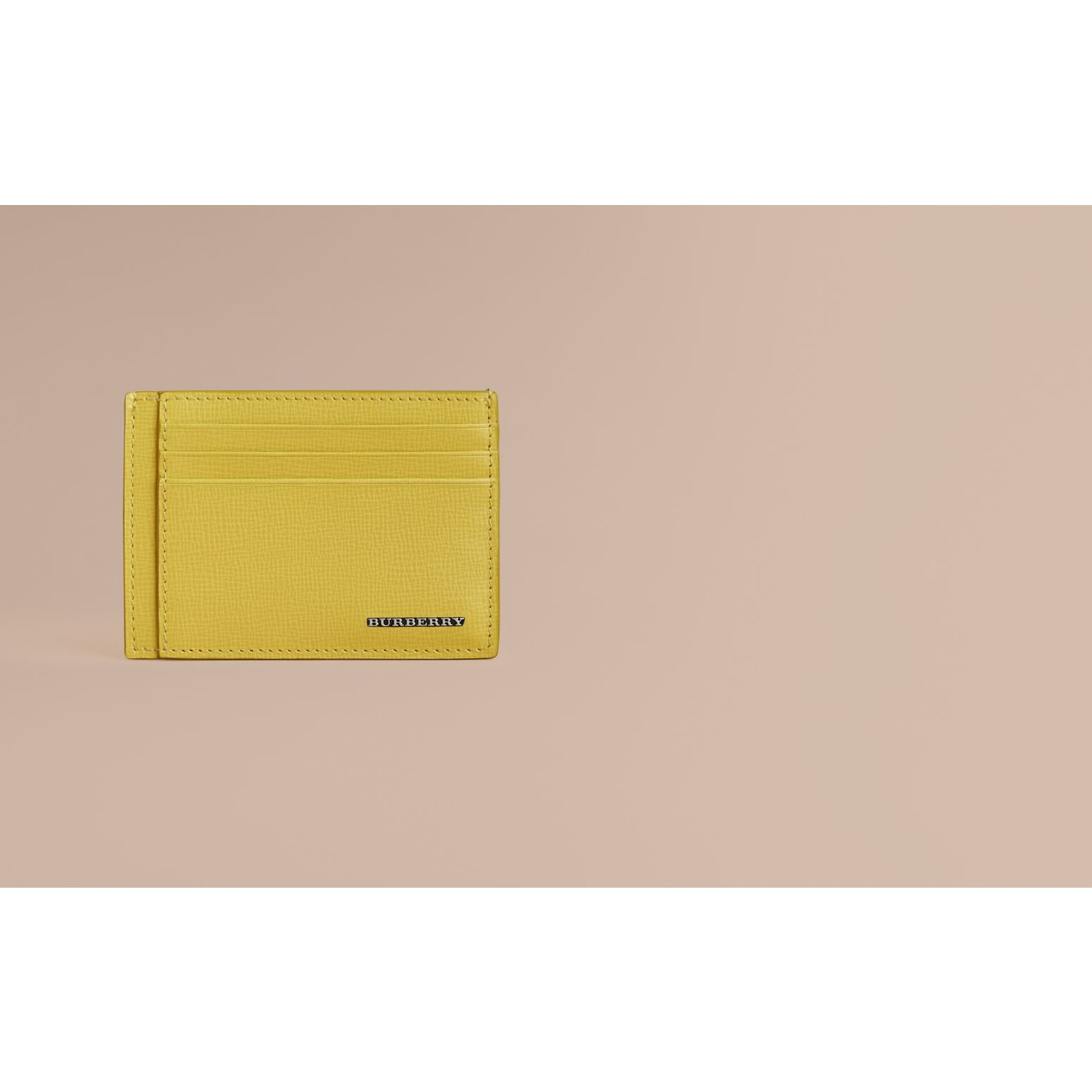 London Leather Card Case in Bright Citrus | Burberry Australia - gallery image 2