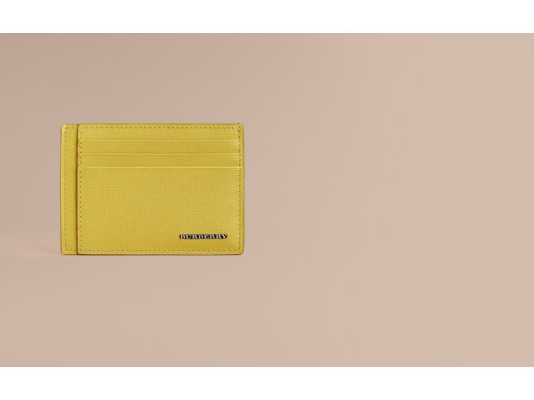 London Leather Card Case in Bright Citrus | Burberry - cell image 1
