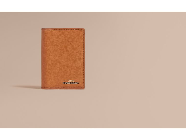 London Leather Folding Card Case in Tan - Men | Burberry - cell image 1