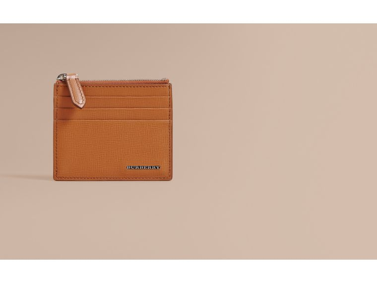 London Leather Zip-top Card Case in Tan | Burberry Canada - cell image 1