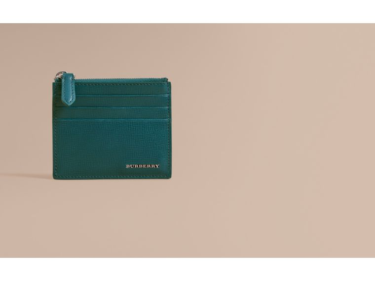 London Leather Zip-top Card Case in Dark Teal | Burberry - cell image 1
