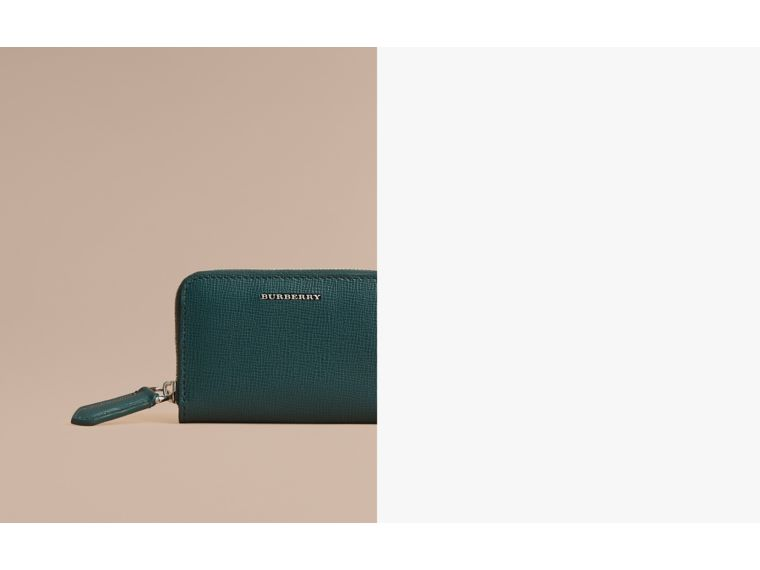 London Leather Ziparound Coin Case in Dark Teal | Burberry - cell image 1
