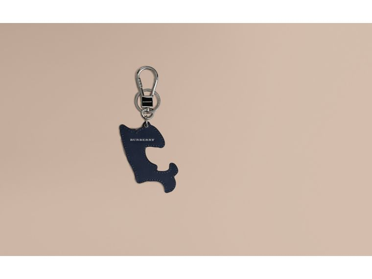 Beasts Leather Key Ring in Coral Red | Burberry - cell image 1