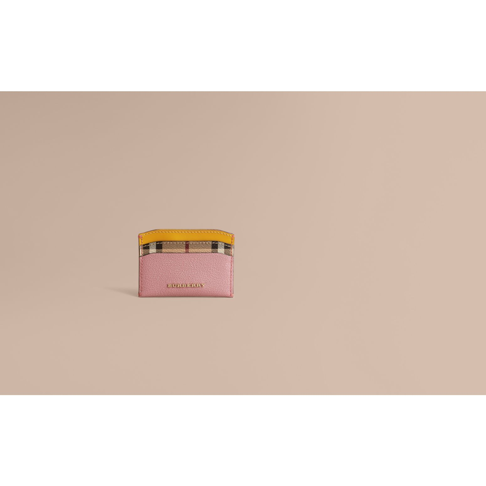 Colour Block Leather and Haymarket Check Card Case in Dusty Pink / Multi - Women | Burberry - gallery image 2