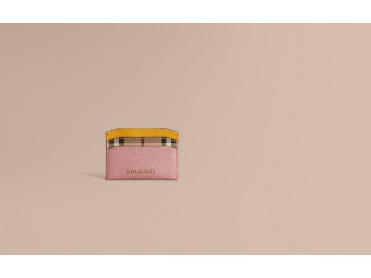 Colour Block Leather and Haymarket Check Card Case in Dusty Pink / Multi - Women | Burberry - cell image 1