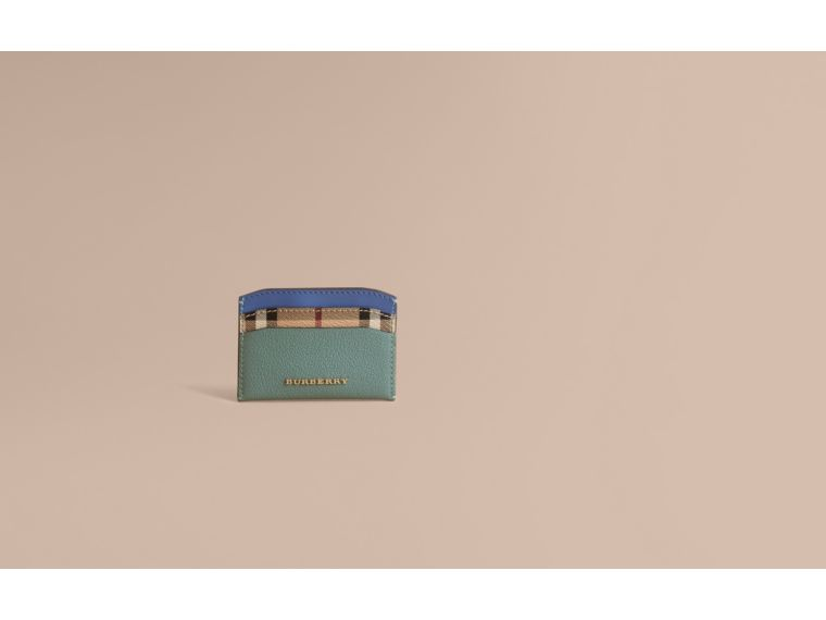 Colour Block Leather and Haymarket Check Card Case in Eucalyptus Grn/multi - Women | Burberry - cell image 1