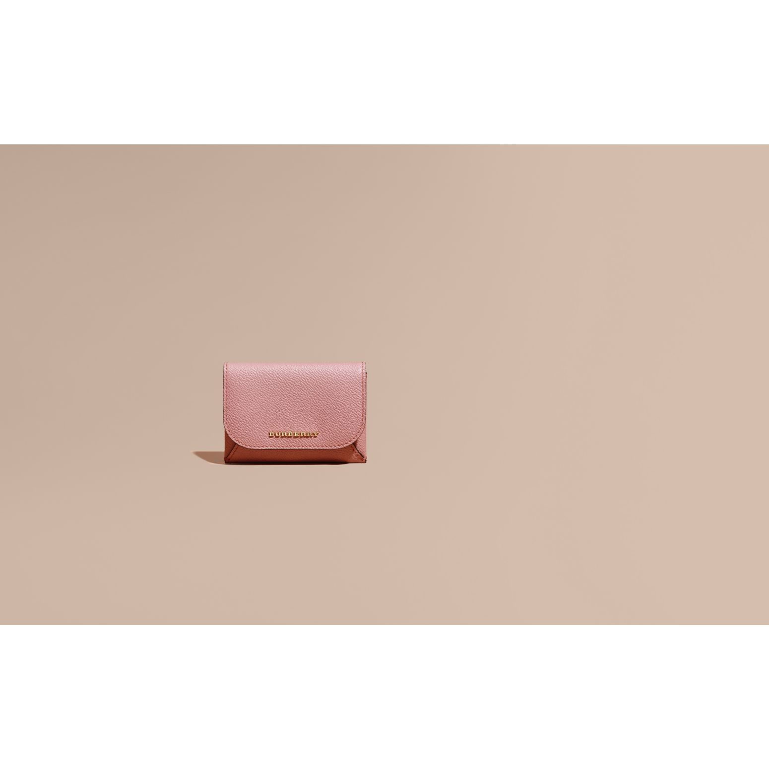 Leather Coin Case with Removable Card Compartment in Dusty Pink/multi - Women | Burberry - gallery image 2