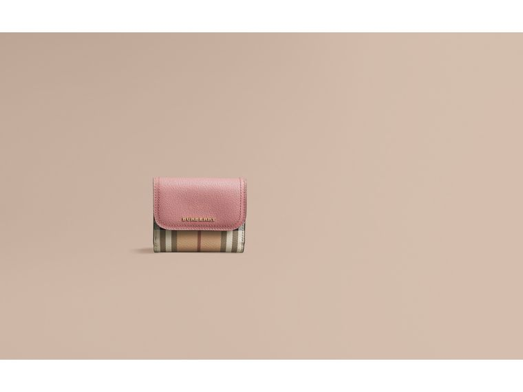 Haymarket Check and Leather Wallet in Dusty Pink/multicolour - Women | Burberry - cell image 1