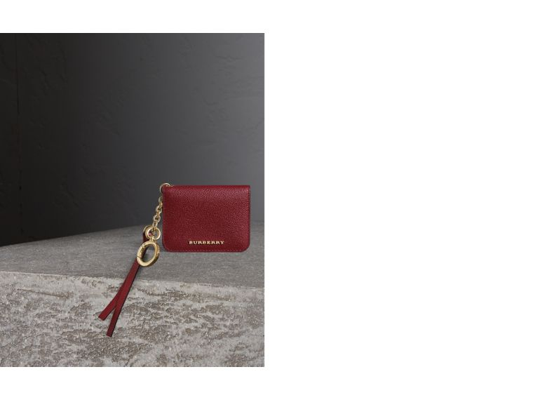 Leather and Haymarket Check ID Card Case Charm in Burgundy/multicolour - Women | Burberry Hong Kong - cell image 1