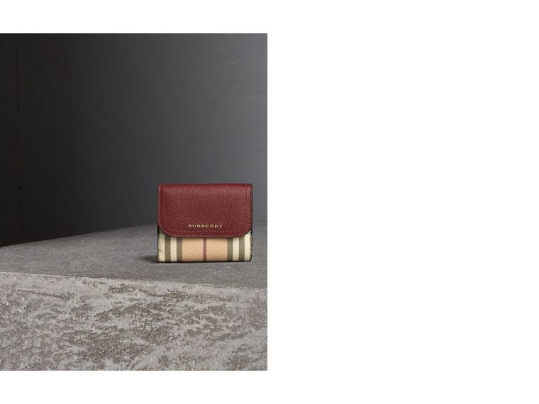 Haymarket Check and Leather Wallet in Burgundy/multicolour - Women | Burberry - cell image 1