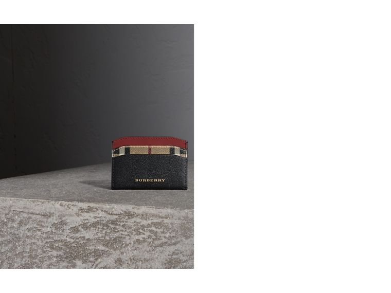Colour Block Leather and Haymarket Check Card Case in Black/multicolour - Women | Burberry Hong Kong - cell image 1