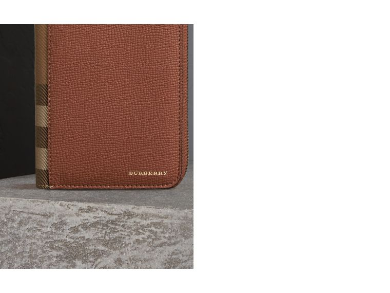 House Check and Grainy Leather Ziparound Wallet in Chestnut Brown | Burberry - cell image 1