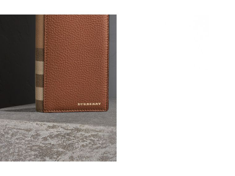 House Check and Grainy Leather Continental Wallet in Chestnut Brown | Burberry Singapore - cell image 1