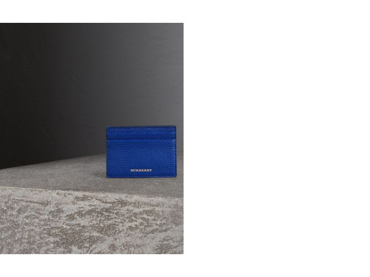 House Check and Grainy Leather Card Case in Deep Blue | Burberry Hong Kong - cell image 1