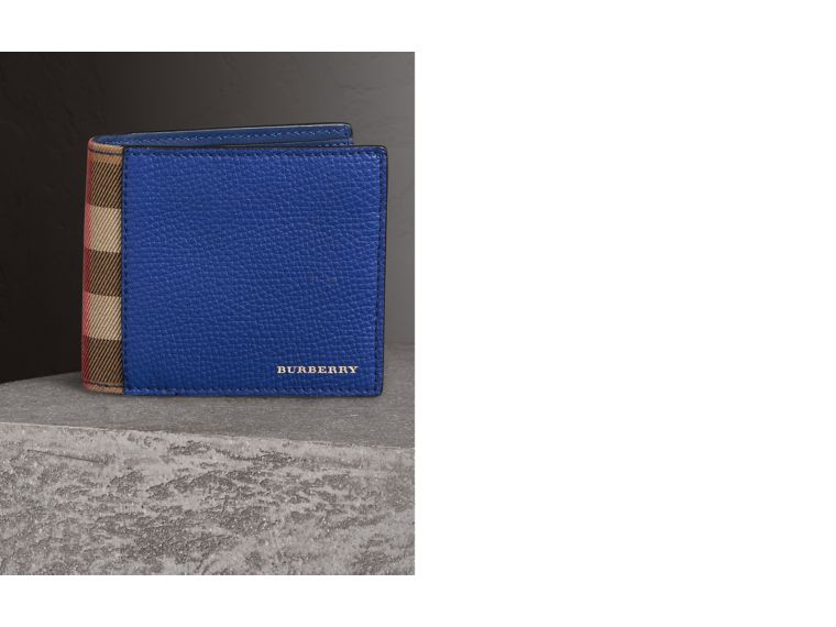 Leather and House Check International Bifold Wallet in Deep Blue | Burberry - cell image 1