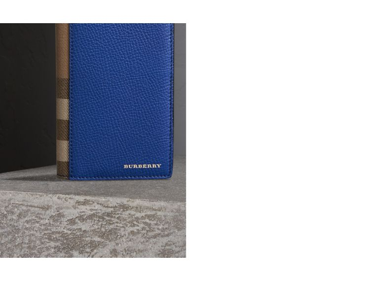 House Check and Grainy Leather Continental Wallet in Deep Blue | Burberry - cell image 1