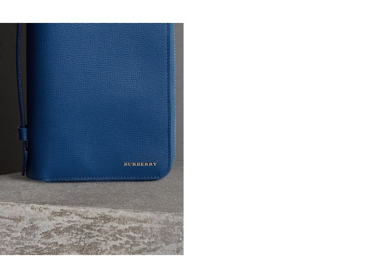 London Leather Travel Wallet in Deep Blue | Burberry Canada - cell image 1