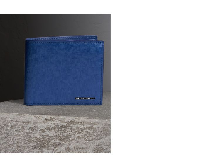 London Leather International Bifold Wallet in Deep Blue | Burberry United Kingdom - cell image 1