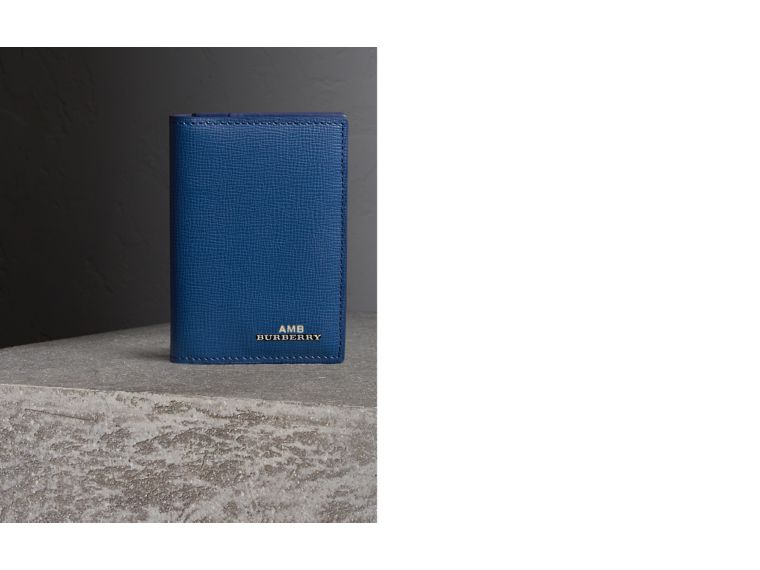 London Leather Folding Card Case in Deep Blue | Burberry - cell image 1