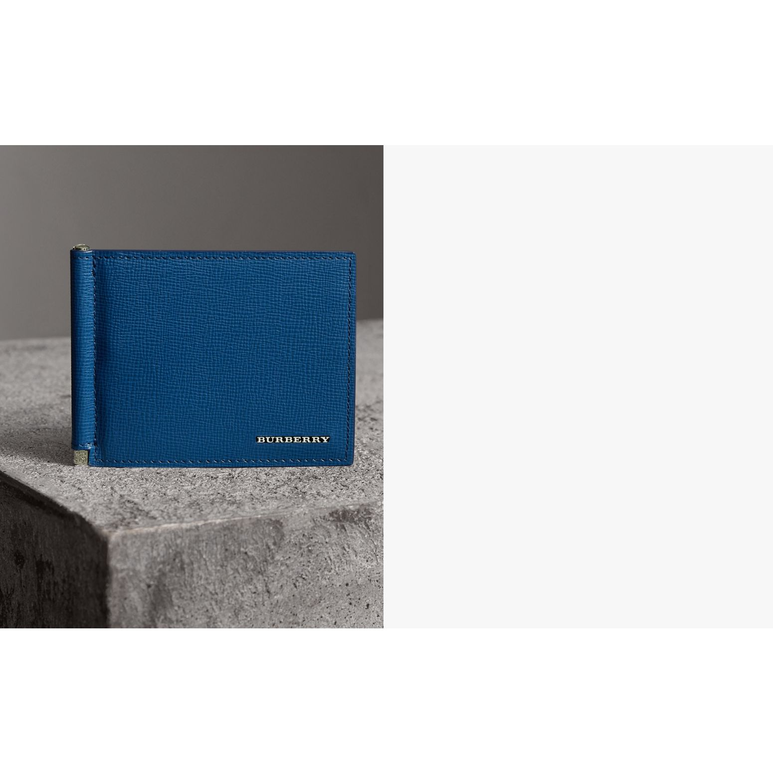 London Leather Money Clip Card Wallet in Deep Blue | Burberry Singapore - gallery image 1