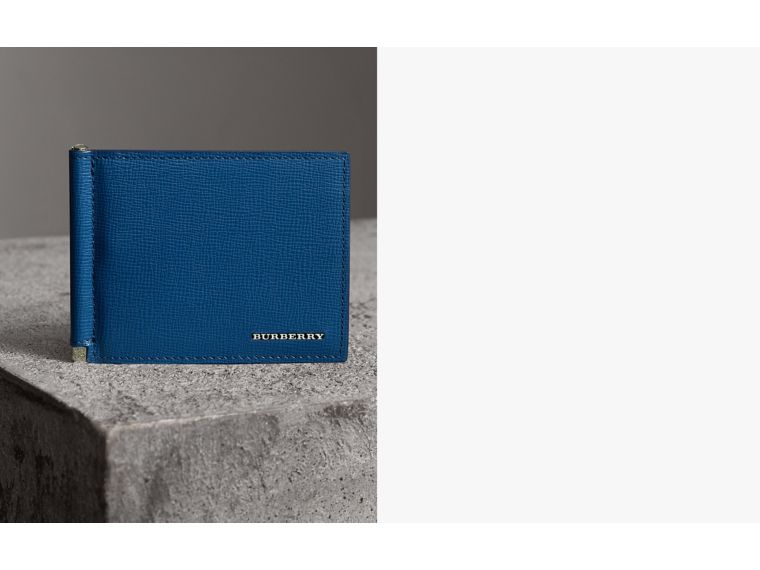 London Leather Money Clip Card Wallet in Deep Blue | Burberry Singapore - cell image 1