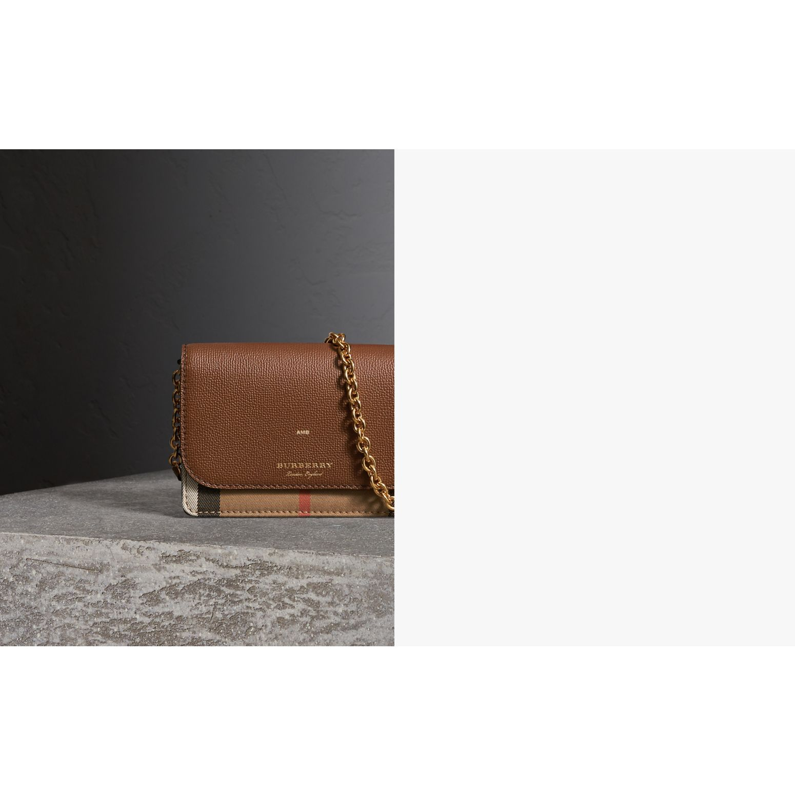 Leather and House Check Wallet with Detachable Strap in Tan - Women | Burberry - gallery image 1