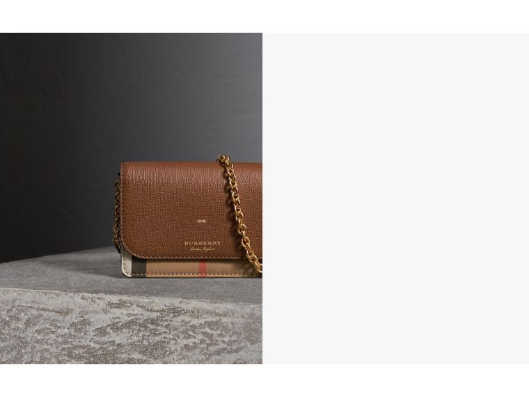 Leather and House Check Wallet with Detachable Strap in Tan - Women | Burberry United Kingdom - cell image 1