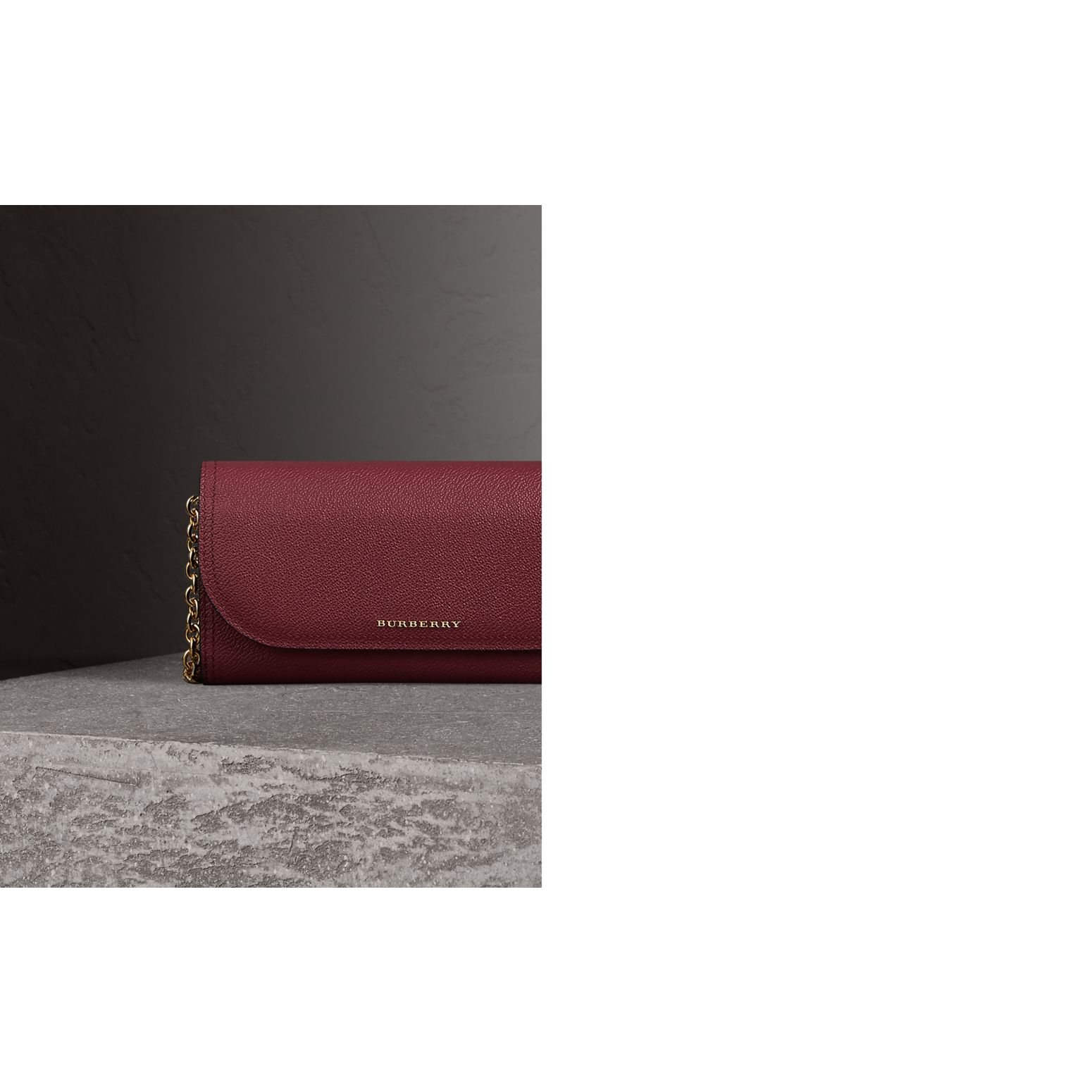 Leather Wallet with Chain in Dark Plum - Women | Burberry United States - gallery image 1