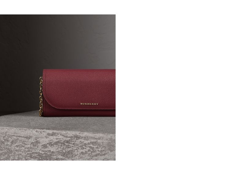 Leather Wallet with Chain in Dark Plum - Women | Burberry - cell image 1