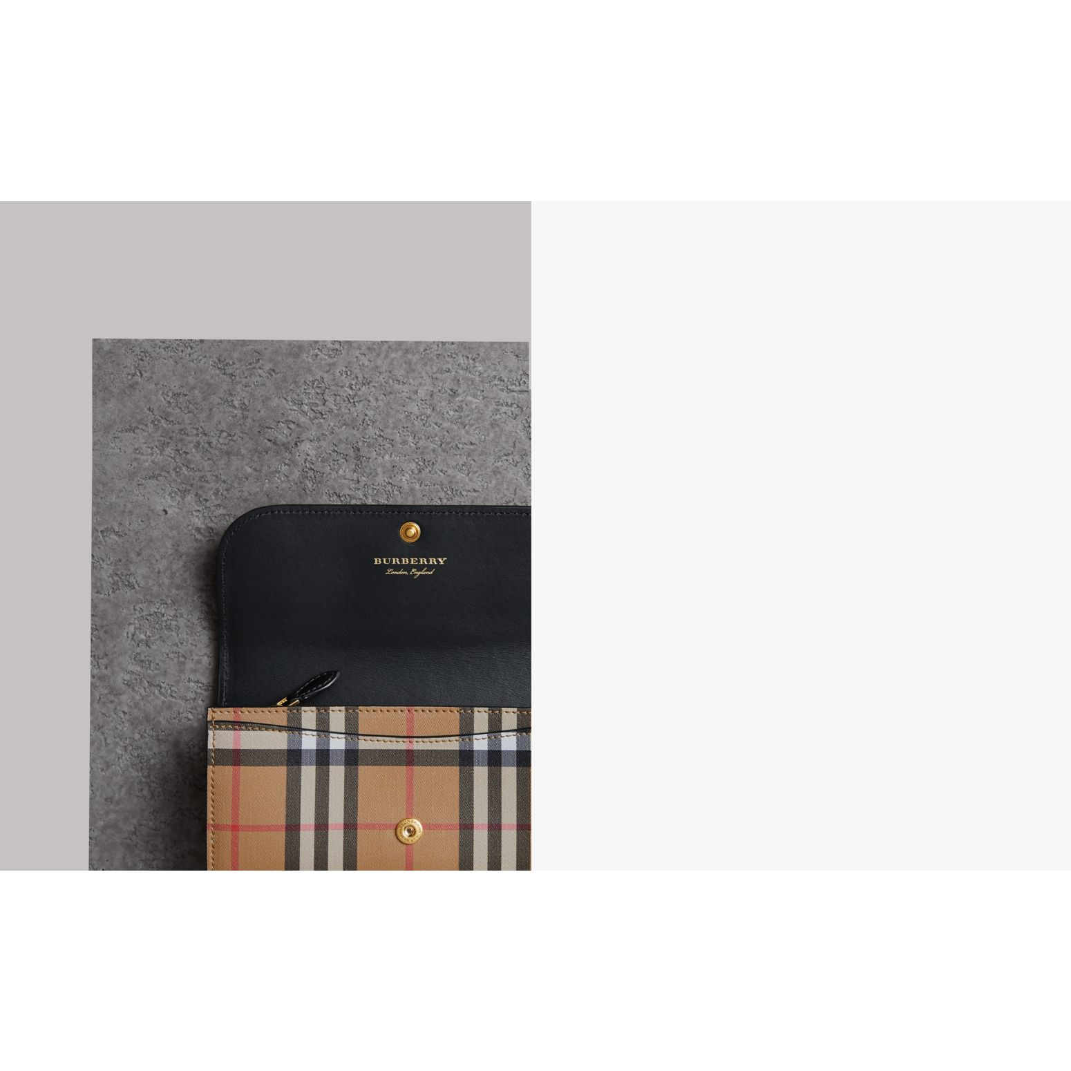 Vintage Check and Leather Continental Wallet in Black - Women | Burberry United States - gallery image 1