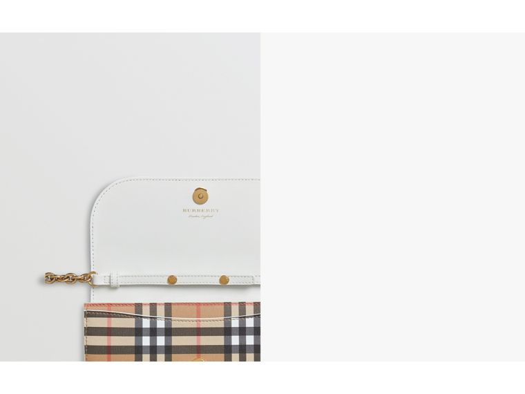 Vintage Check and Leather Wallet with Chain in Chalk White - Women | Burberry - cell image 1