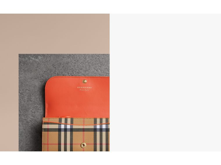 Vintage Check and Leather Continental Wallet in Clementine - Women | Burberry - cell image 1