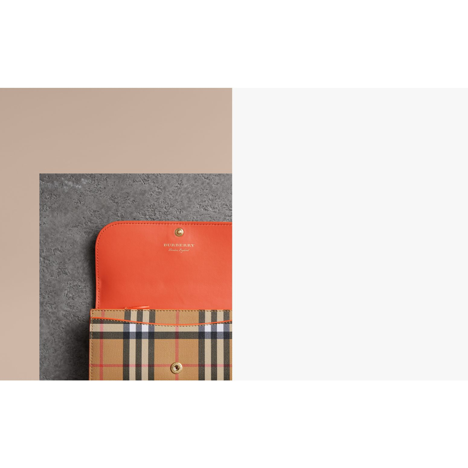 Vintage Check and Leather Continental Wallet in Clementine - Women | Burberry United States - gallery image 1