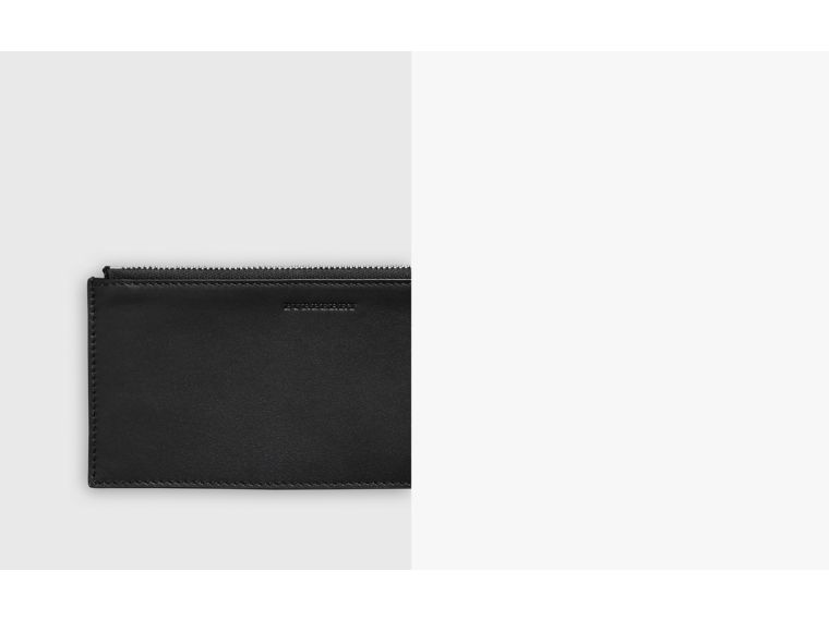Two-tone Grainy Leather Travel Wallet in Black - Men | Burberry United Kingdom - cell image 1
