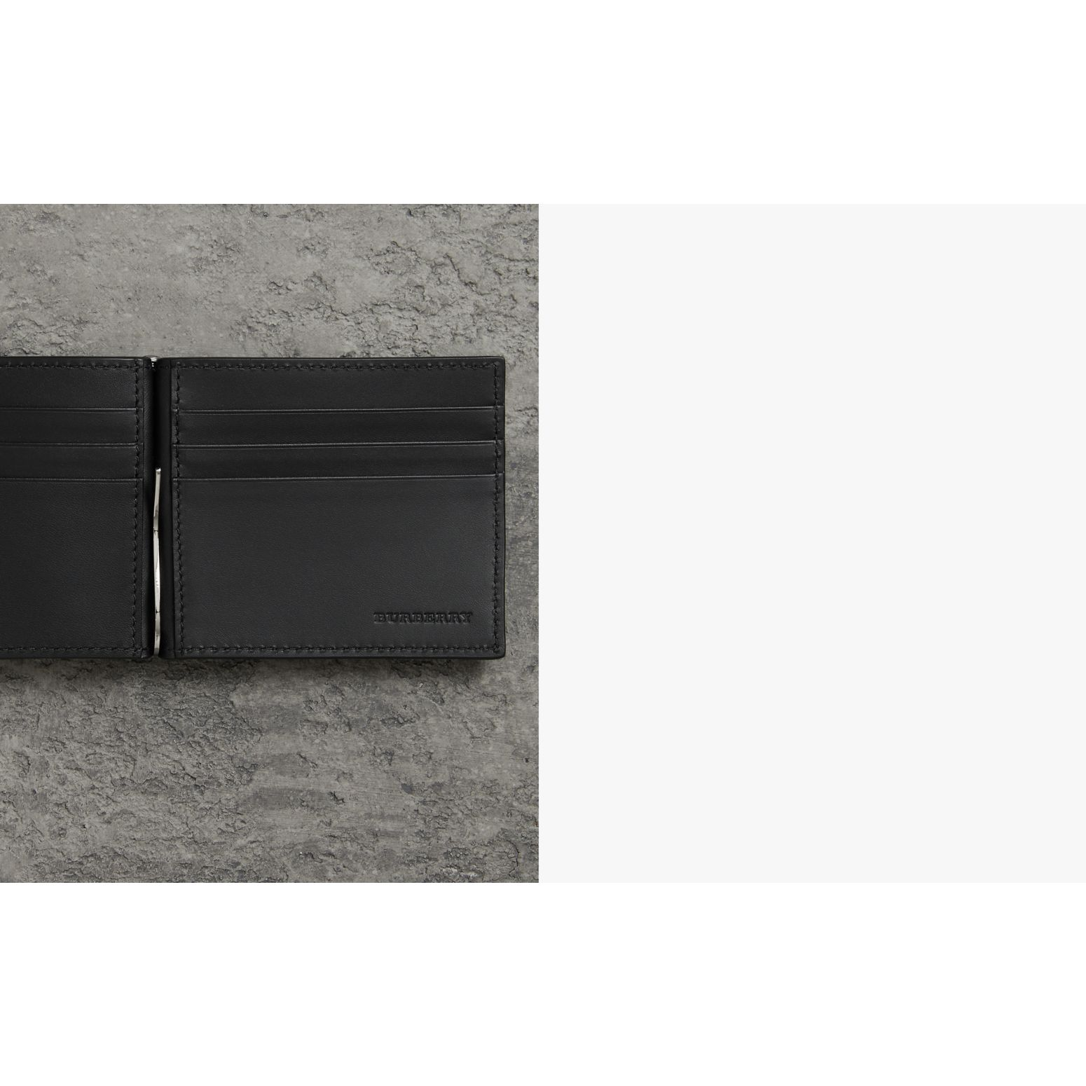 Grainy Leather Money Clip Card Wallet in Black - Men | Burberry - gallery image 1