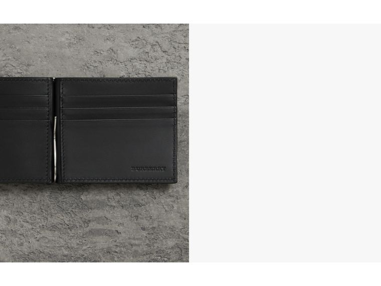 Grainy Leather Money Clip Card Wallet in Black - Men | Burberry - cell image 1