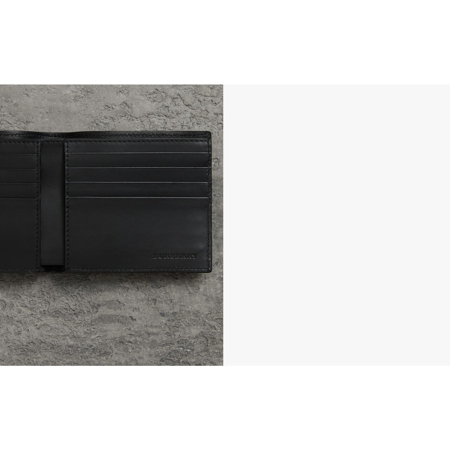 Grainy Leather International Bifold Wallet in Black - Men | Burberry Canada - gallery image 1