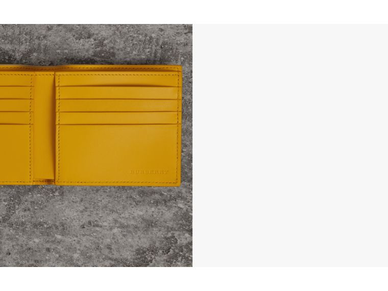 Grainy Leather International Bifold Wallet in Bright Ochre Yellow - Men | Burberry Australia - cell image 1