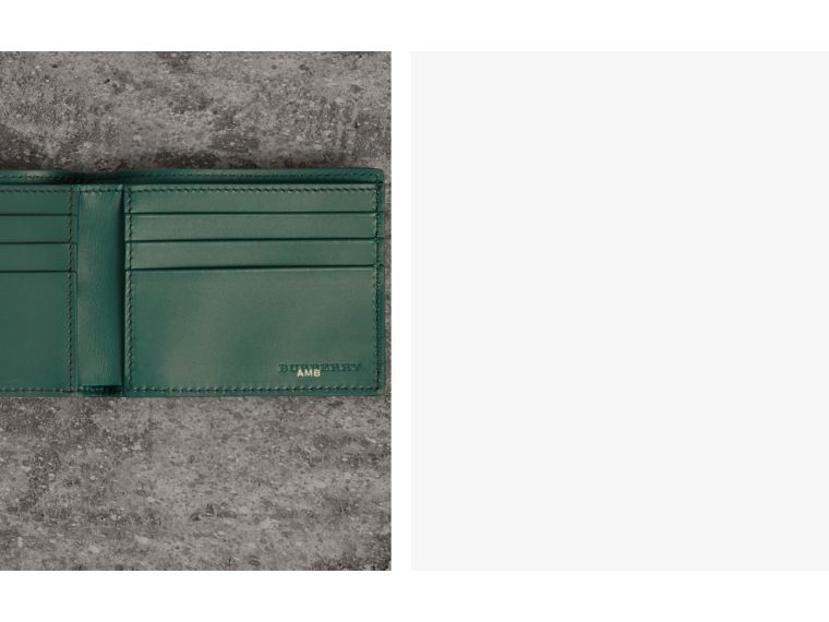 Grainy Leather Bifold Wallet in Dark Cyan - Men | Burberry United States - cell image 1